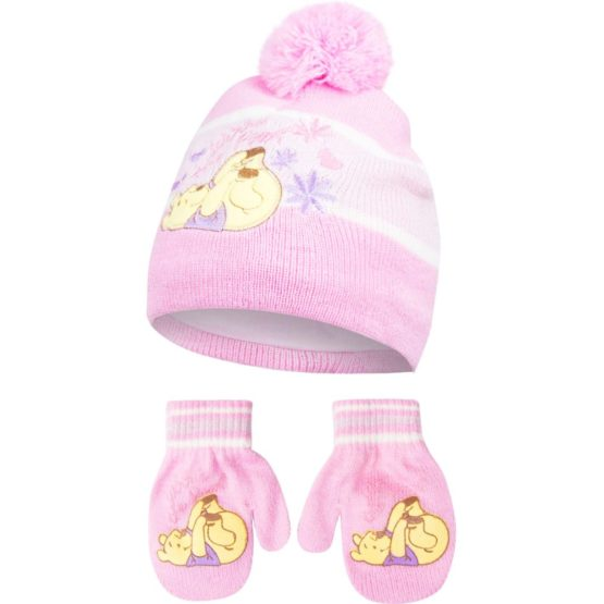 Pooh hat with gloves – pink