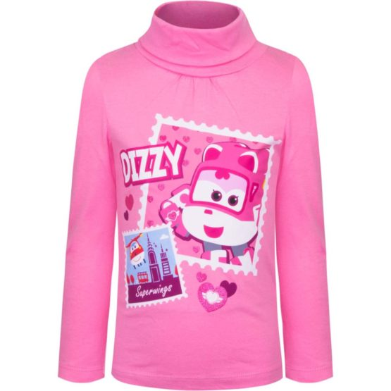 Super Wings longsleeve with collar – pink