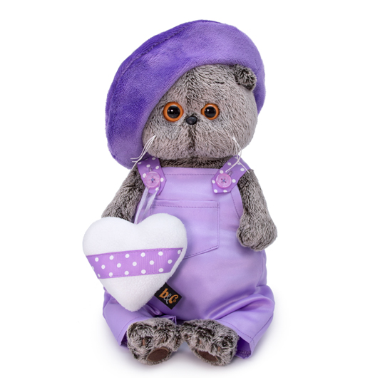 Basik in purple clothes with a heart