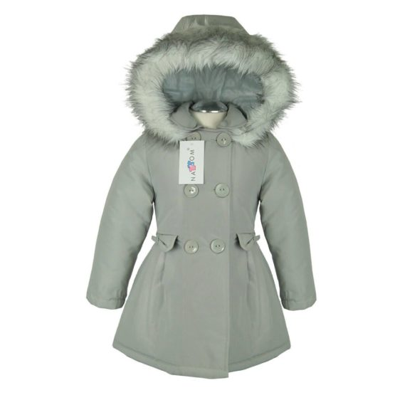 Autumn winter jacket with hood for girls – Nat & Tom – gray