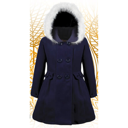 Autumn winter jacket with hood for girls – Nat & Tom – navy