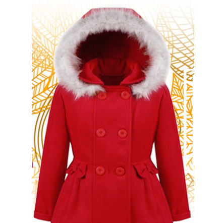Autumn winter jacket with hood for girls – Nat & Tom – red
