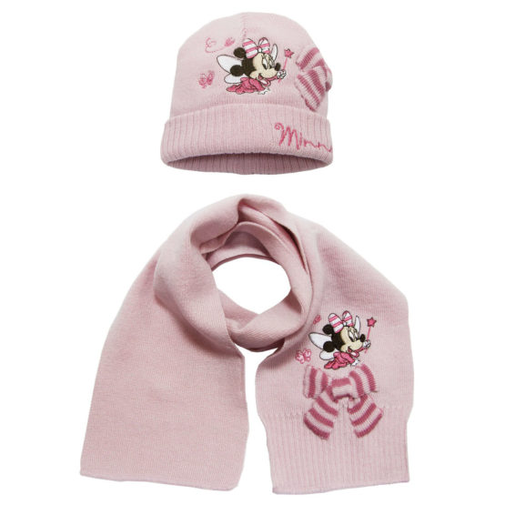 Hat with scarf for girls – Minnie Mouse