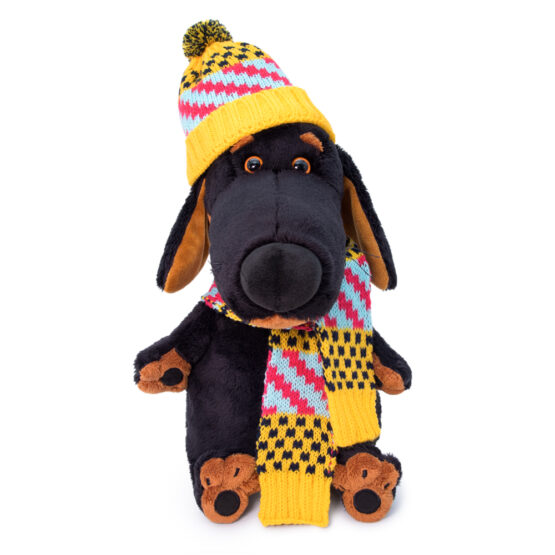 Dog Vakson in scarf and hat